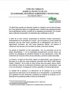 Oikos em El Salvador: Fórum-Debate acerca da Lei da Soberania e Segurança Alimentar e Nutricional
